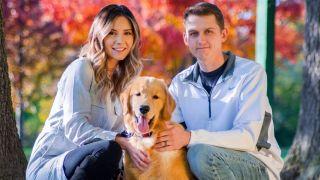 Golden Retriever dad Tucker with his pet parents