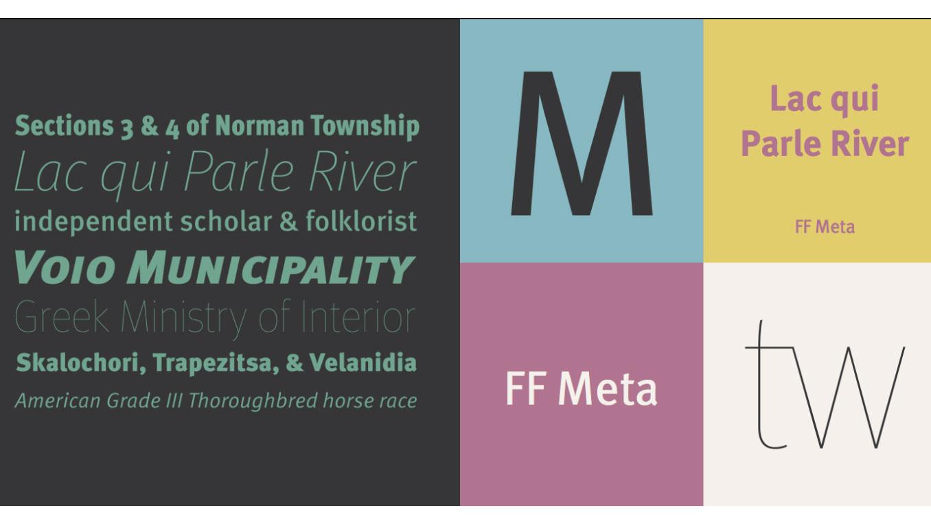 FF Meta sans serif font sample