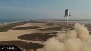 SpaceX launched its Starhopper rocket prototype on its highest flight ever on Aug. 27, 2019. The reusable hopping rocket flew from one pad to the other, with a targeted 500-foot (150 meters) ceiling at SpaceX's South Texas test site near Boca Chica Village.