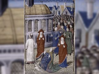 This miniature artwork shows Pope Joan, who has just given birth to an infant during a Church procession.