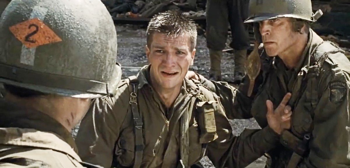 Tom Hanks, Nathan Fillion, and Ted Danson in Saving Private Ryan