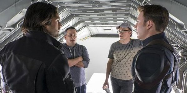 joe and anthony russo with sebastian stan and chris evans in the making of Civil War