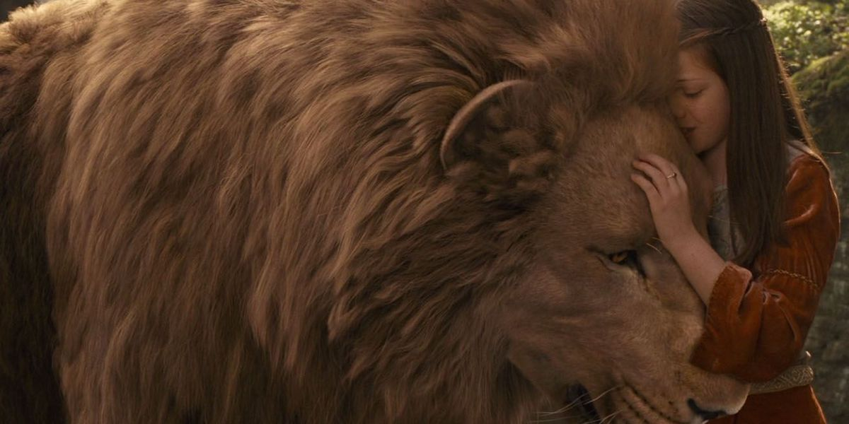 Aslan and Lucy Pevensie in Narnia