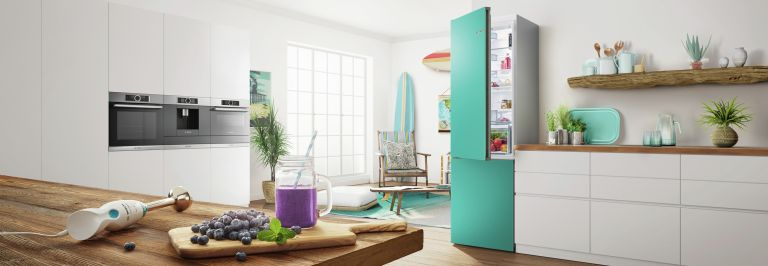 coloured fridge in a white kitchen