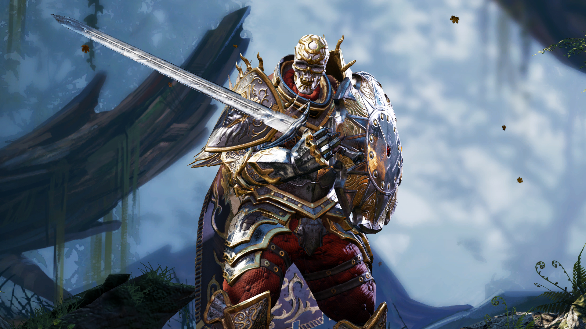 An armored, skeletal warrior holds a sword and shield