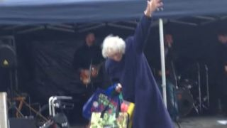 A picture of 'Rockin' Gran' dancing in Paisley, Scotland