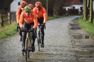 Belgian Greg Van Avermaet of CCC Team pictured in action at de Paddestraat during the reconnaissance of the track ahead of the 75th edition of the oneday cycling race Omloop Het Nieuwsblad Wednesday 26 February 2020 BELGA PHOTO DAVID STOCKMAN Photo by DAVID STOCKMANBELGA MAGAFP via Getty Images