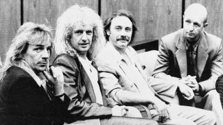 Judas Priest members (l-r) Glenn Tipton, K.K. Downing, Ian Hill, and Rob Halford kick back during a break in the trial Monday, in Reno.
