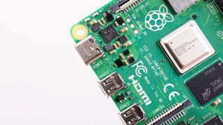 A corner of the Pi 4 board, showing the SoC.