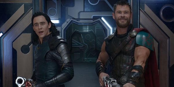 Thor and Loki with guns in Ragnarok