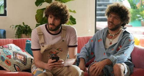 Dave (Dave Burd) and Benny Blanco (Benjamin Levin) face questions from GaTa (GaTa) about their sometimes touchy-feely relationship after a sleepover that ends with bubblegum in Benny's rear end.