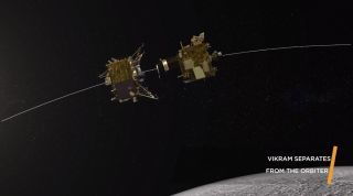 On Sept. 2, the Indian Space Research Organisation's Chandrayaan-2 moon orbiter successfully released its Vikram lander, as seen in this illustrated depiction. But Vikram's landing attempt on Sept. 6 did not go as planned; mission control lost contact with Vikram just before touchdown, and the lander has been silent ever since.