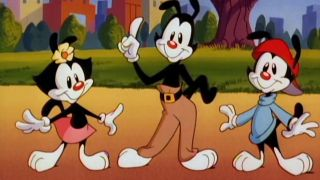 Yakko, Wakko, and Dot of the Animaniacs.
