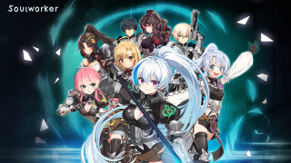 Artwork of eight current SoulWorker characters grouped together.