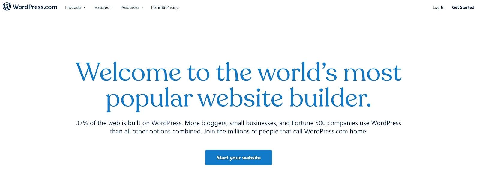 La page d'accueil de WordPress.com