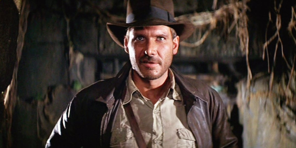 Harrison Ford in his Indiana Jones outfit in Raiders of the Lost Ark