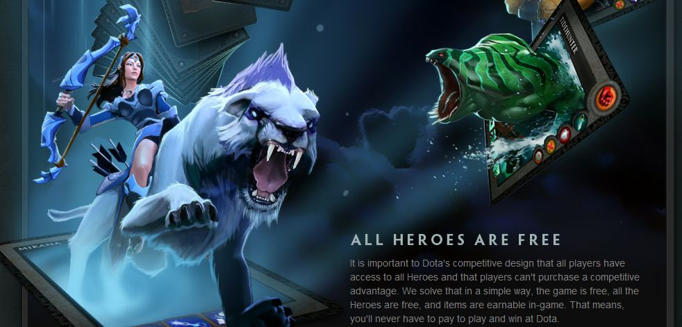 Dota 2 officially free to play, all heroes will be free