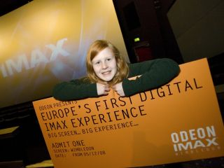 Kenra seems pretty happy to be at the Odeon s launch of new digital IMAX cinemas in London