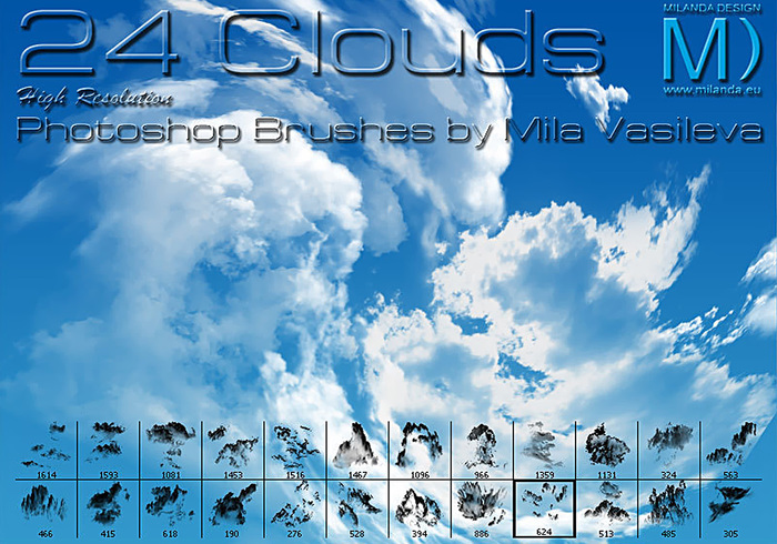 Free Photoshop brushes: cloud brushes