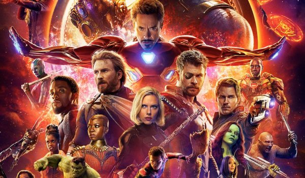 Avengers: Infinity War full cast lineup in front of a blazing fireball