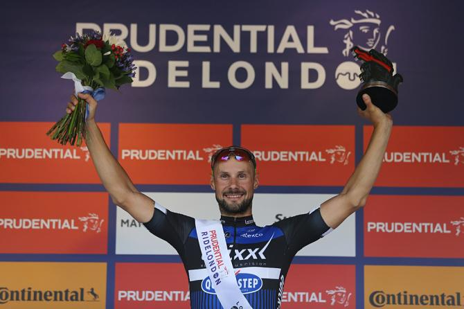 Tom Boonen (Etixx-QuickStep) on the podium at RideLondon Classic