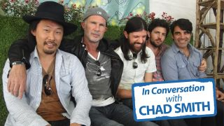 Chad Smith (second left) with The Avett Brothers (Joe Kwon, Seth Avett, Scott Avett and Bob Crawford), photographed backstage at the Firefly Music Festival, Dover, Delaware, June 2013