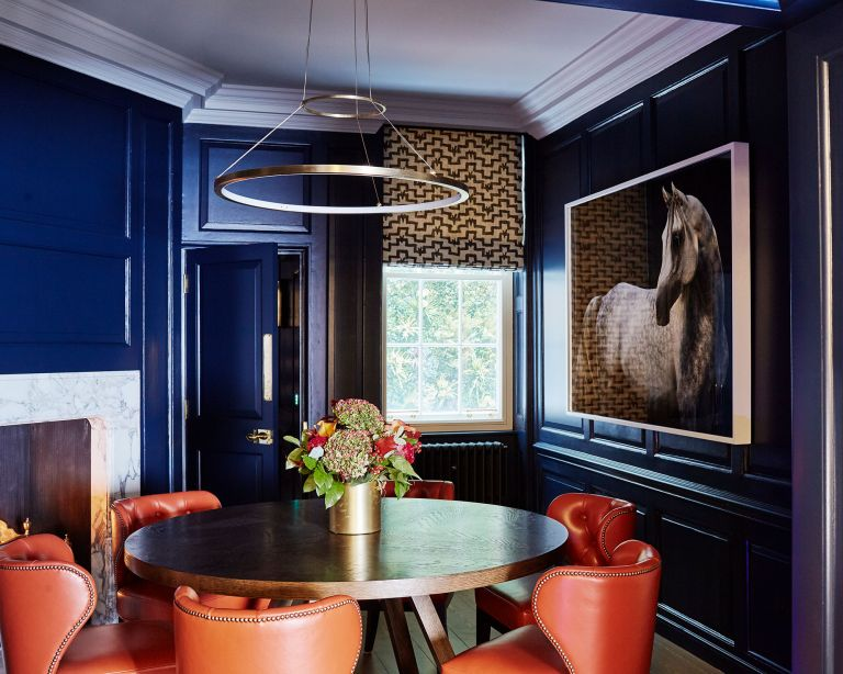 Dining room color schemes blue
