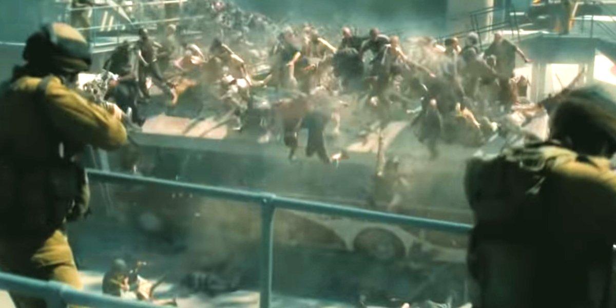 A zombie horde in World War Z