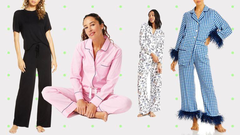Best pajamas 2021 from left to right Nordstrom black pajamas, J Crew pink pajama set, Banana Republic printed set, Sleeper blue and white plaid set