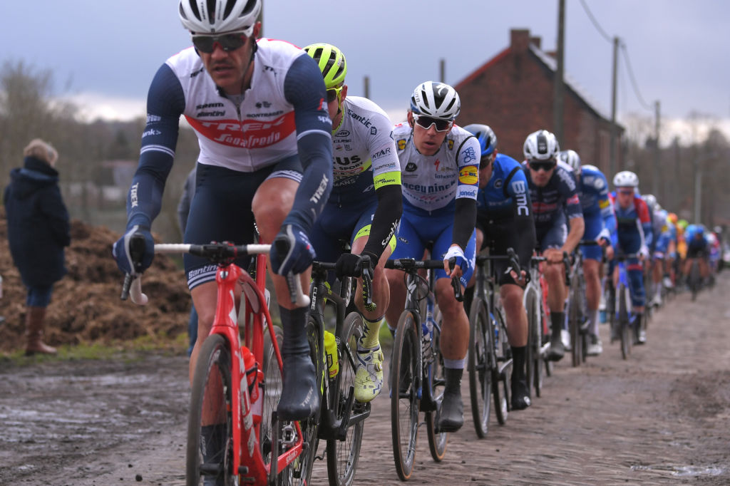 DOUR BELGIUM MARCH 03 Davide Ballerini of Italy and Team Deceuninck Quick Step Cobblestones Peloton during the 52nd Grand Prix Le Samyn 2020 a 2019km race from Quaregnon to Dour GPSamyn gpsamyn on March 03 2020 in Dour Belgium Photo by Luc ClaessenGetty Images