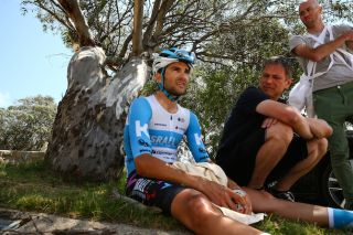 James Piccoli (Israel Start-Up Nation) recovers after his effort in the closing kilometres of Mount Buller