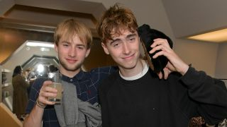 Sonny Starkey (L) and Gene Gallagher attend the UGG + Eckhaus Latta FW19 collection launch