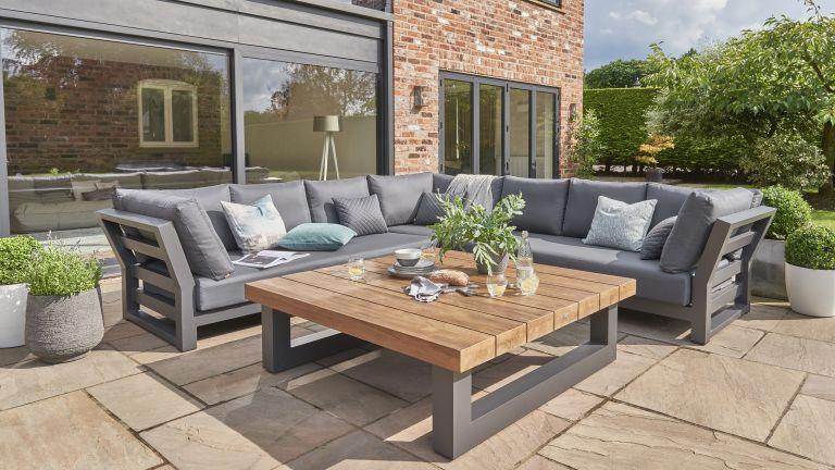 outdoor sofa ideas: corner sofa on patio