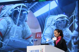 Chinese astronaut Wang Yaping spoke at an event held in 2017.