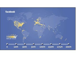 To show just how large Facebook is, the website has created a heat map