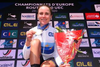 PLOUAY FRANCE AUGUST 27 Podium Annemiek Van Vleuten of The Netherlands European Champion Jersey Gold medal Celebration during the 26th UEC Road European Championships 2020 Womens Elite Road Race a 1092km race from Plouay to Plouay GrandPrixPlouay GPPlouay on August 27 2020 in Plouay France Photo by Luc ClaessenGetty Images