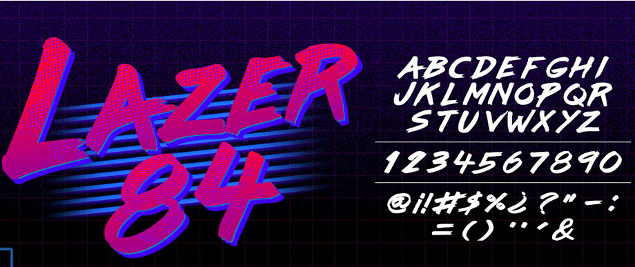 free fonts: vintage and retro fonts: Lazer 84