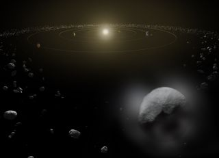 An artist's illustration of the asteroid belt, dominated by the largest asteroid Ceres, a dwarf planet.
