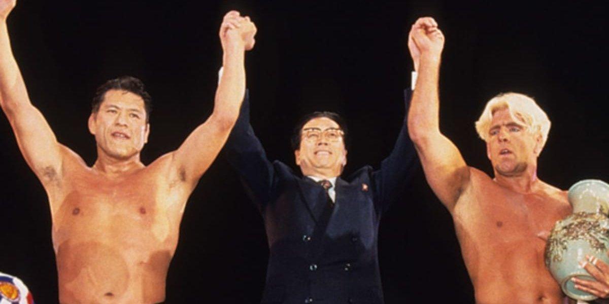 Antonio Inoki and Ric Flair at Collision in Korea