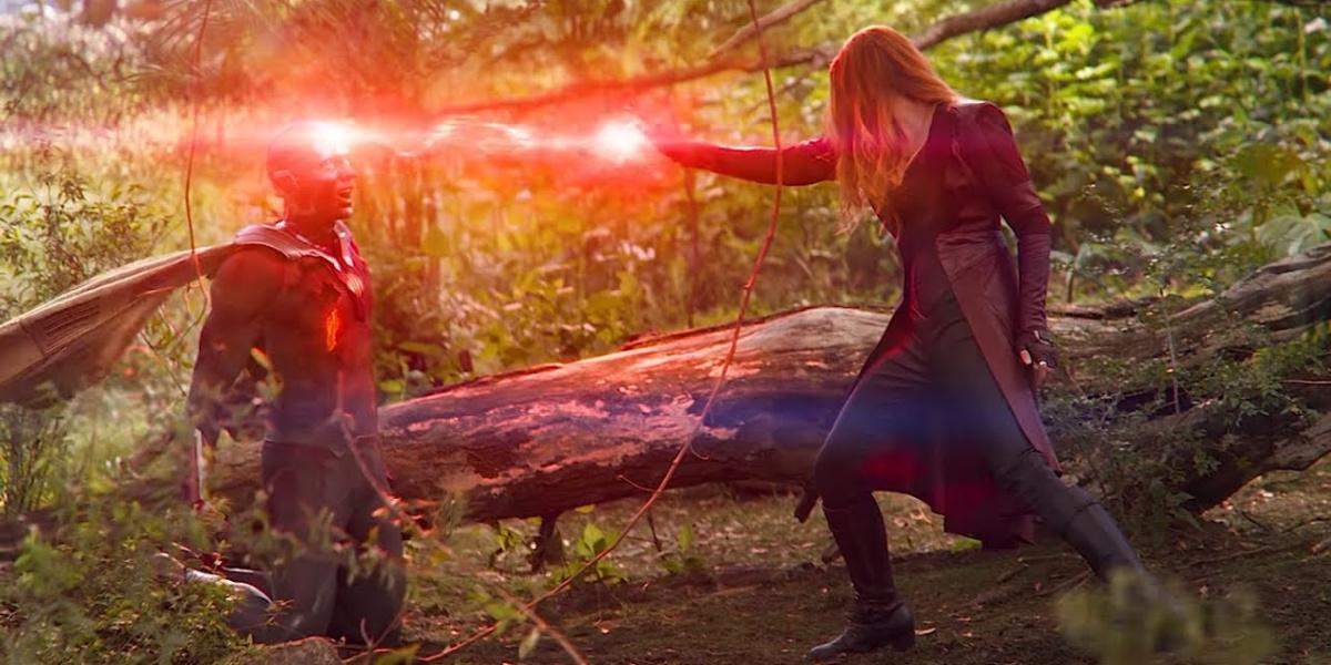 Wanda destroying the Mind Stone in Avengers: Infinity War.