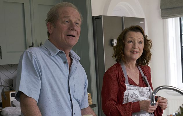 Peter Mullan as Michael and Lesley Manville as Cathy in BBC comedy Mum