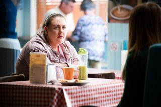Bernadette Taylor in the cafe in EastEnders