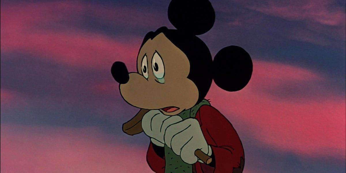 Mickey's Christmas Carol Mickey crying at twilight