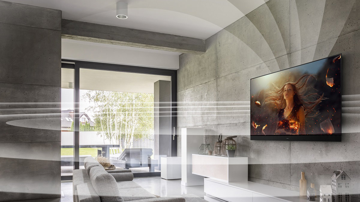 Panasonic JZ2000 OLED TV, with direction of audio from all sides