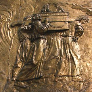 This bas-relief image showing the Ark of the Covenant being carried is from the Auch Cathedral in France.