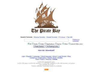 the Pirate Bay's homepage - just in case you live in Denmark and are missing what it looks like