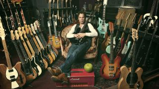 Big Wreck's Ian Thornley surrounded by guitar goodness. And to think, he's still waiting to be paid.