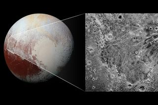 Pluto with closeup