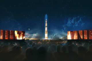 The National Air and Space Museum will use projection mapping to transform the Washington Monument into a Saturn V rocket to mark 50 years since the moon landing, July 16-20, 2019.