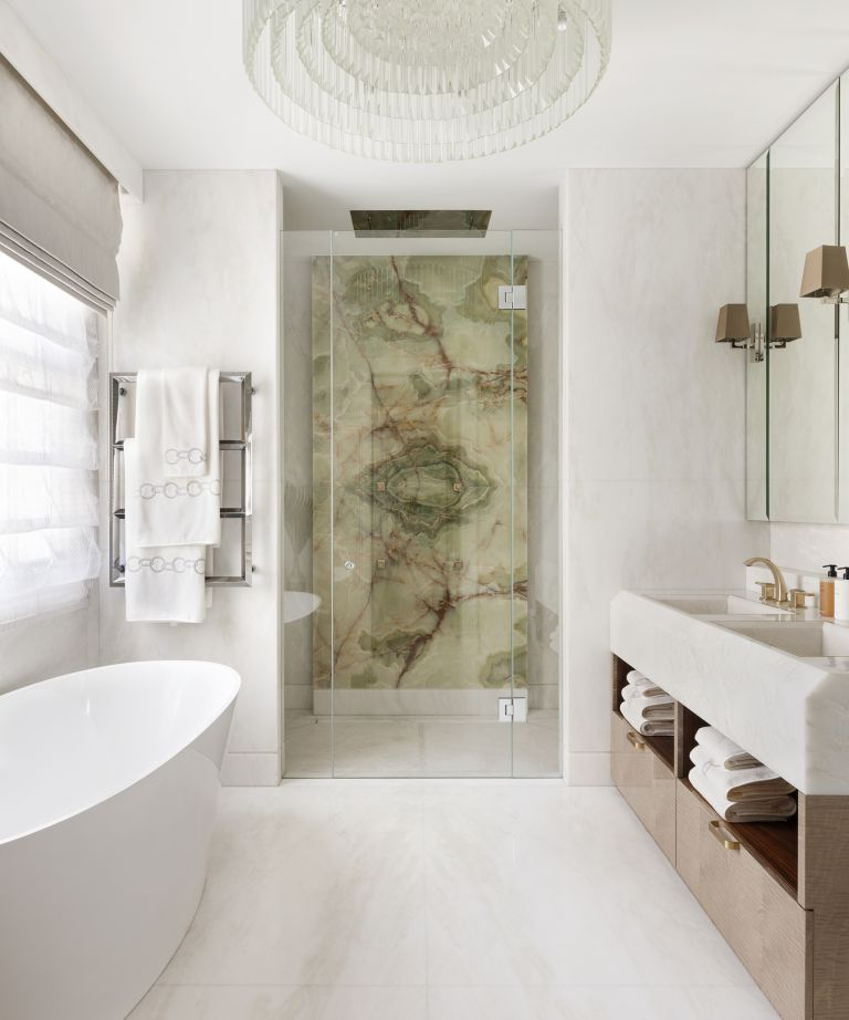exotic stone: green marble shower